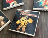 Transformers G1 Stone Coasters, Handmade, Travertine, Classic Decal, Geek Decor Gift, Optimus Prime, Megatron, Starscream, Bumblebee, Robots
