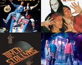 Bill & Ted's Movie Stone Coasters, Soundtrack Album Poster, Set of 4, Handmade, Excellent Adventure, Bogus Journey, Wyld Stallyns
