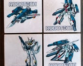 Robotech Stone Coasters, Set of 4, Handmade, Classic, Decal, Geek, Macross, VF-1 Valkyrie Veritech Fighter, Skull Squadron, Anime Comics