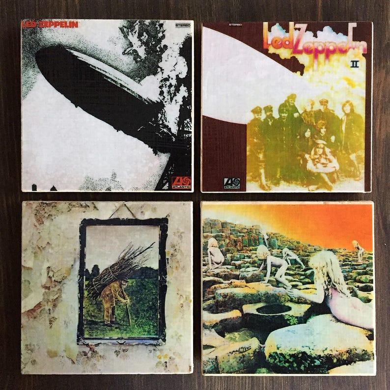 Led Zeppelin Album Cover Stone Coasters Set of 4 Handmade image 0