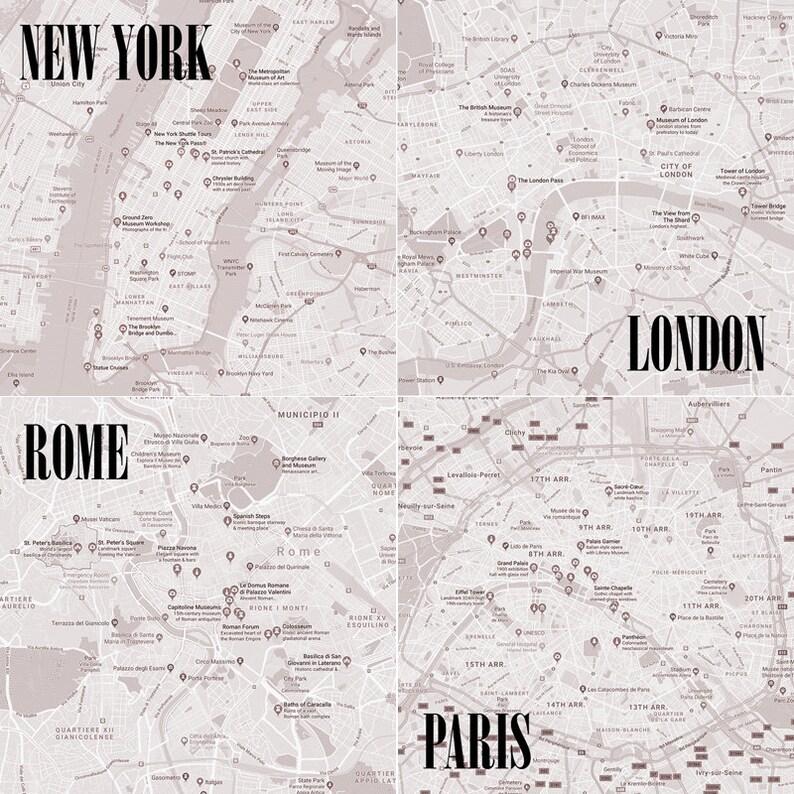 City Map Stone Coasters Set of 4 Handmade NYC New York image 0
