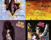 Alice Cooper Album Cover Stone Coasters, Set of 4, Handmade, Welcome to My Nightmare, School's Out, Trash