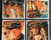 Indiana Jones Movie Poster Stone Coaster Set, Handmade, Harrison Ford, Raiders of Lost Ark, Temple of Doom, Kingdom of Crsytal Skull, FanArt