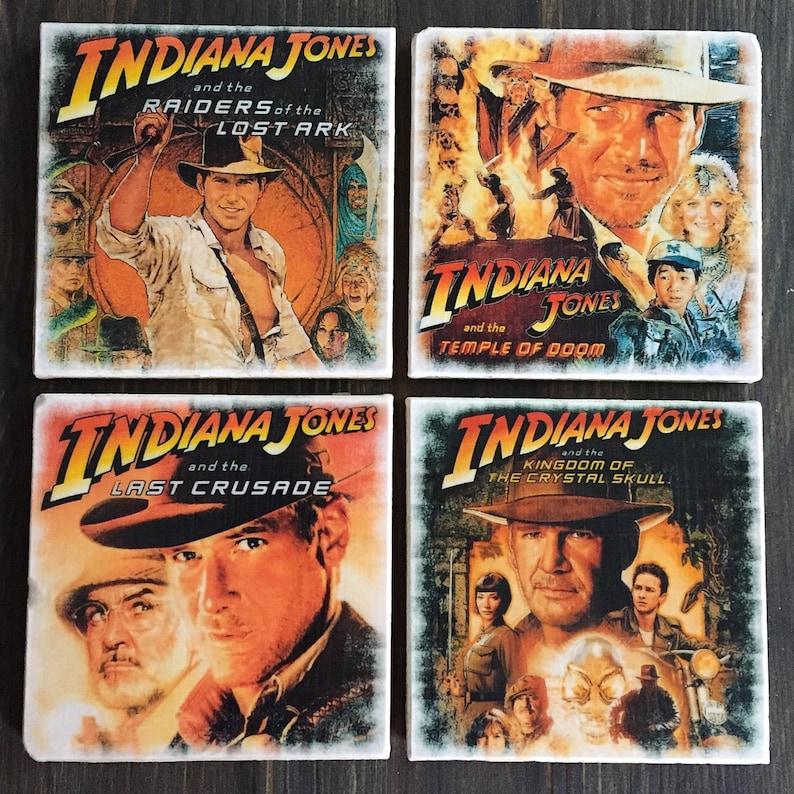 Indiana Jones Movie Poster Stone Coaster Set Handmade image 0