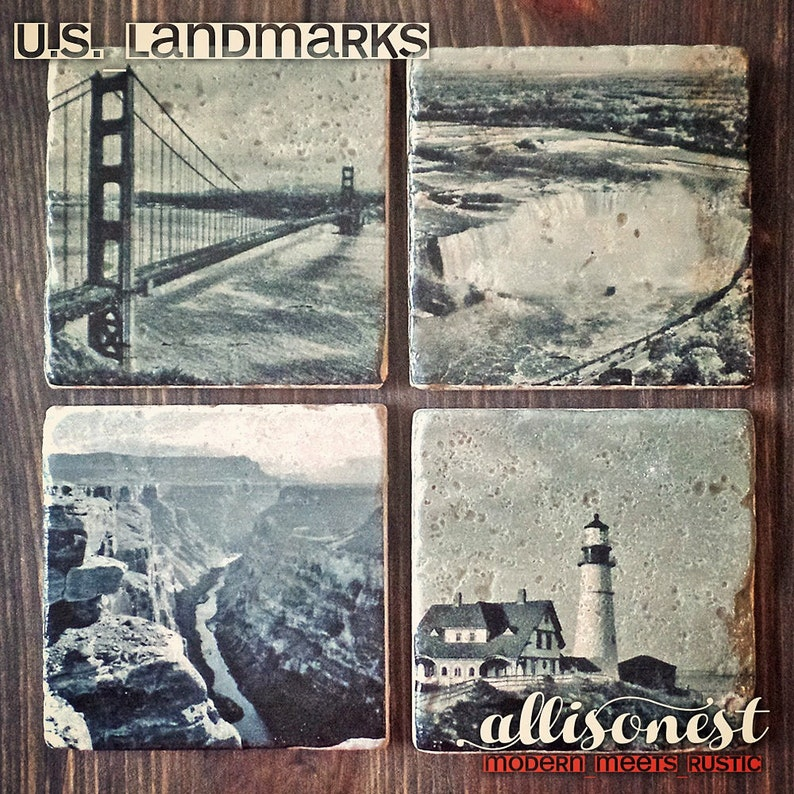 U.S. Landmark Stone Coasters Set of 4 San Francisco Golden image 0