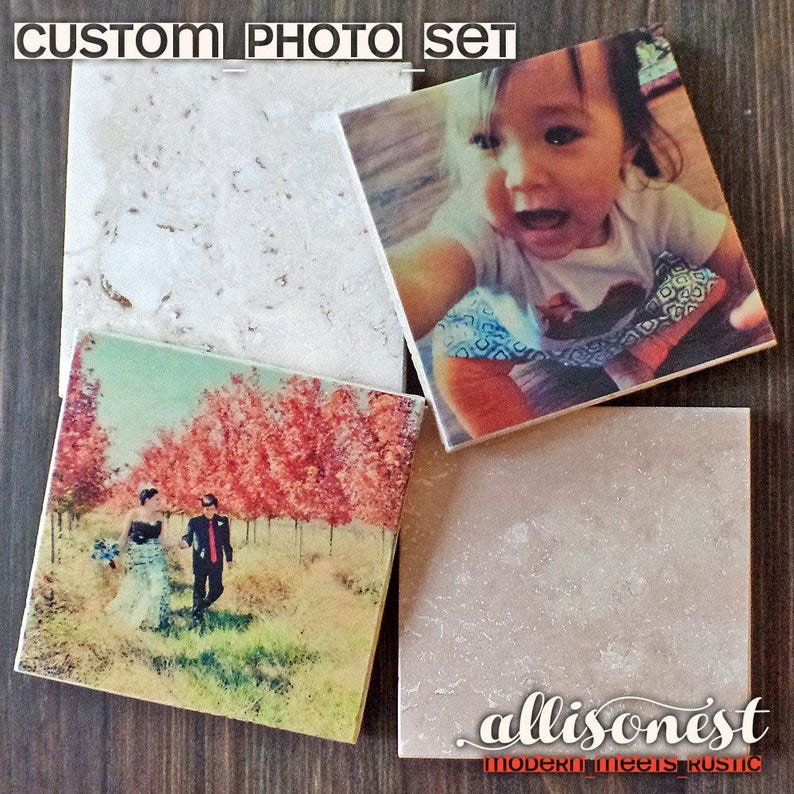 Set of 5 Custom Photo Coasters Ivory Travertine Stone image 0