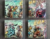 X-Men Stone Coasters, Set of 4, Handmade, Travertine Stone, Geek Decor Gift, Wolverine, Magneto, Xmen, Comic, Superhero