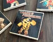 Transformers G1 Stone Coasters, Handmade, Travertine, Classic Decal, Geek Decor Gift, Optimus Prime, Megatron, Starscream, Bumblebee, Robots
