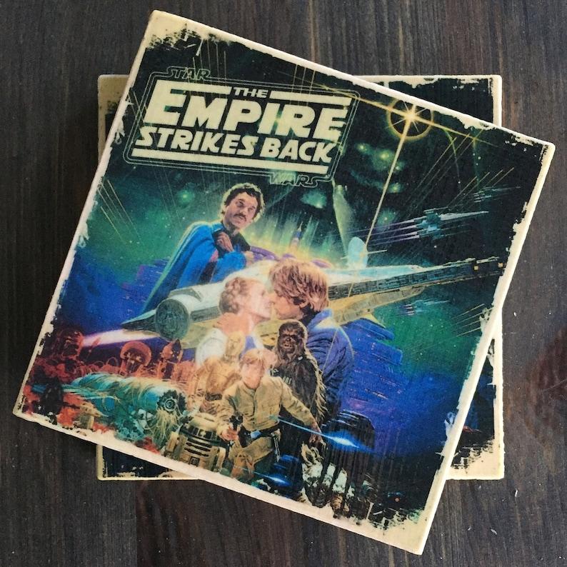 Star Wars Movie Poster Stone Coasters Handmade Set of 4 image 0