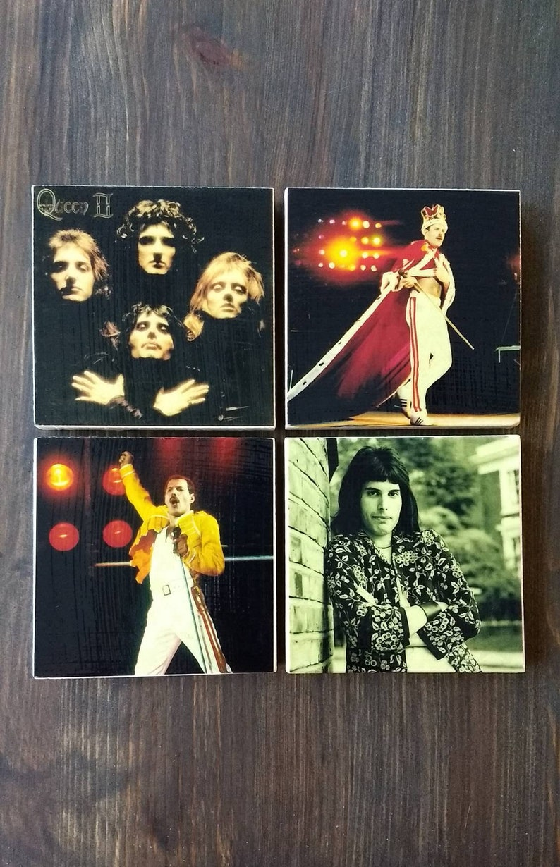 Freddie Mercury Stone Coasters Handmade Travertine Stone image 0
