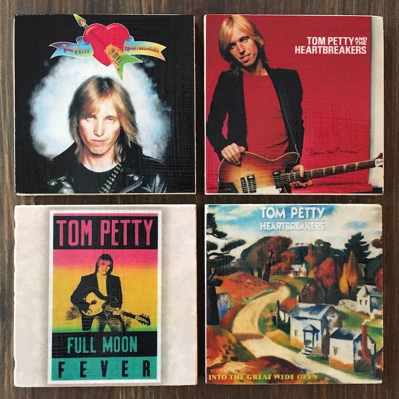 Tom Petty Stone Coasters Set of 4 Handmade Travertine Stone image 0
