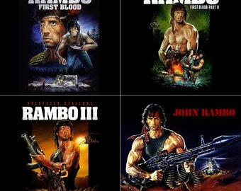 Rambo Stone Coasters, Movie Poster, Set of 4, Handmade, First Blood, Sylvester Stallone