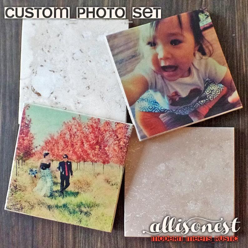 Set of 4 Personalized Custom Photo Coasters Ivory Travertine image 0