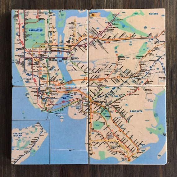 Nyc Subway Map Stone Coasters New York City Handmade Etsy