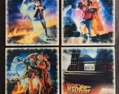 Back to the Future Movie Poster Stone Coasters, Set of 4, Handmade, Marty McFly, 80s Party, 80s Movies