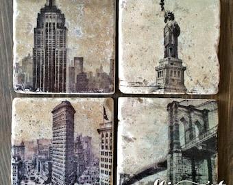 New York City NYC Stone Coasters, Handmade, Travertine Stone, Set of 4, Empire State, Statue of Liberty, Brooklyn Bridge, Flatiron, Skyline