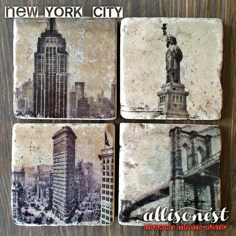 New York City NYC Stone Coasters Handmade Travertine Stone image 0