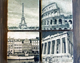 European Landmarks Stone Coasters, Handmade, Travertine Stone, Parthenon Athens Greece, Paris Eiffel Tower, Copenhagen, Colosseum Rome