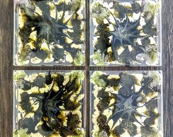 Resin Coasters, Set of 4, Alcohol Ink Coasters, Alcohol Ink Art, Abstract Coasters, Green Coasters, Gold Coasters, Style: Guilded Olive