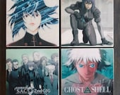 Ghost in the Shell Stone Coasters, Set of 4, Handmade, Travertine Stone, GITS, Stand Alone Complex, Anime Cover Poster Art