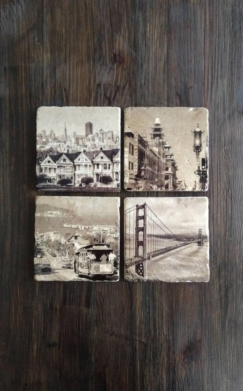 San Francisco Inspired Stone Coasters Set of 4 Handmade image 0