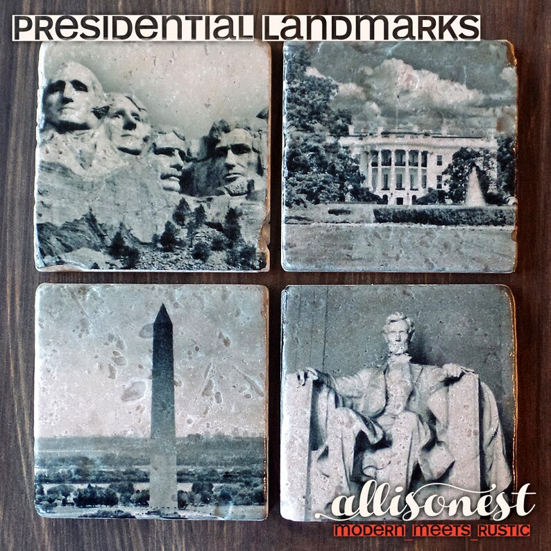 U.S. President Inspired Travertine Stone Coasters Set of 4 image 0
