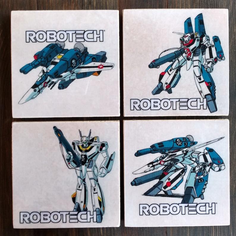 Robotech Stone Coasters Set of 4 Handmade Classic Decal image 0