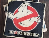Ghostbusters Movie Stone Coaster Set, Set of 4, Handmade, 80s, Classic Movies, Birthday, Party Supplies, FanArt