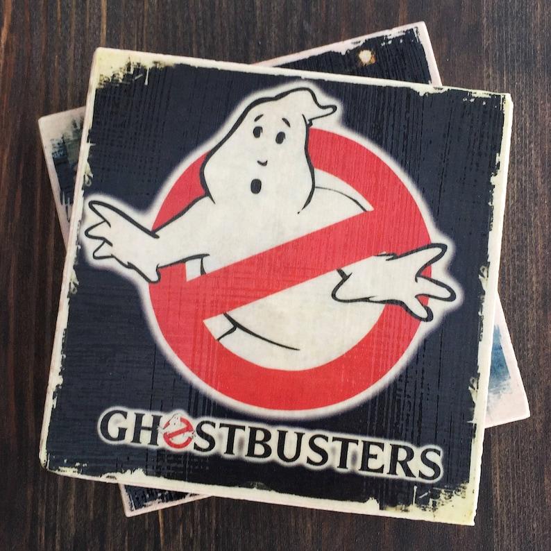 Ghostbusters Movie Stone Coaster Set Set of 4 Handmade 80s image 0