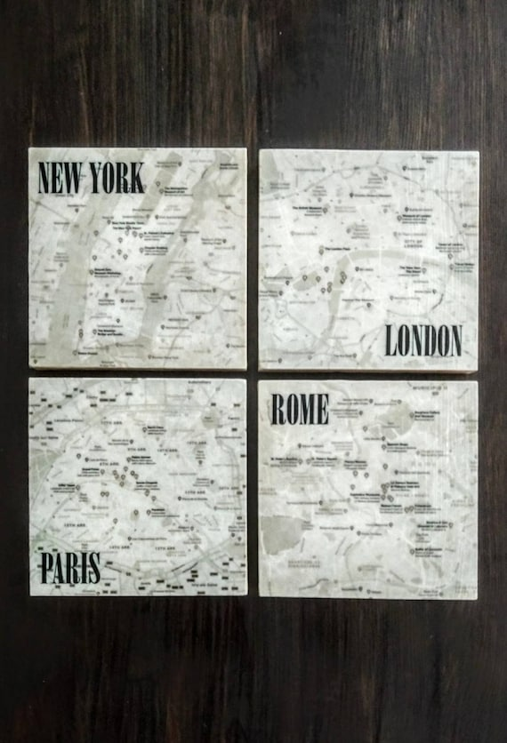 City Map Stone Coasters, ...