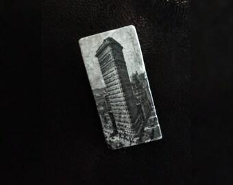 "Stone Refrigerator Magnet, 2""x4"" Silver Travertine Stone Tiles, Flatiron Building Design"
