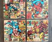 Marvel Comics Stone Coasters, Set of 4, Handmade, Travertine Stone, Geek Decor Gifts, Iron Man, Thor, Spiderman, Captain America, Superhero