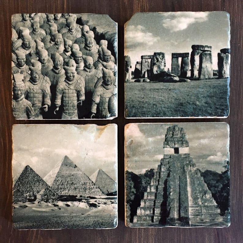 Ancient Landmarks Stone Coasters Handmade Travertine Set of image 0