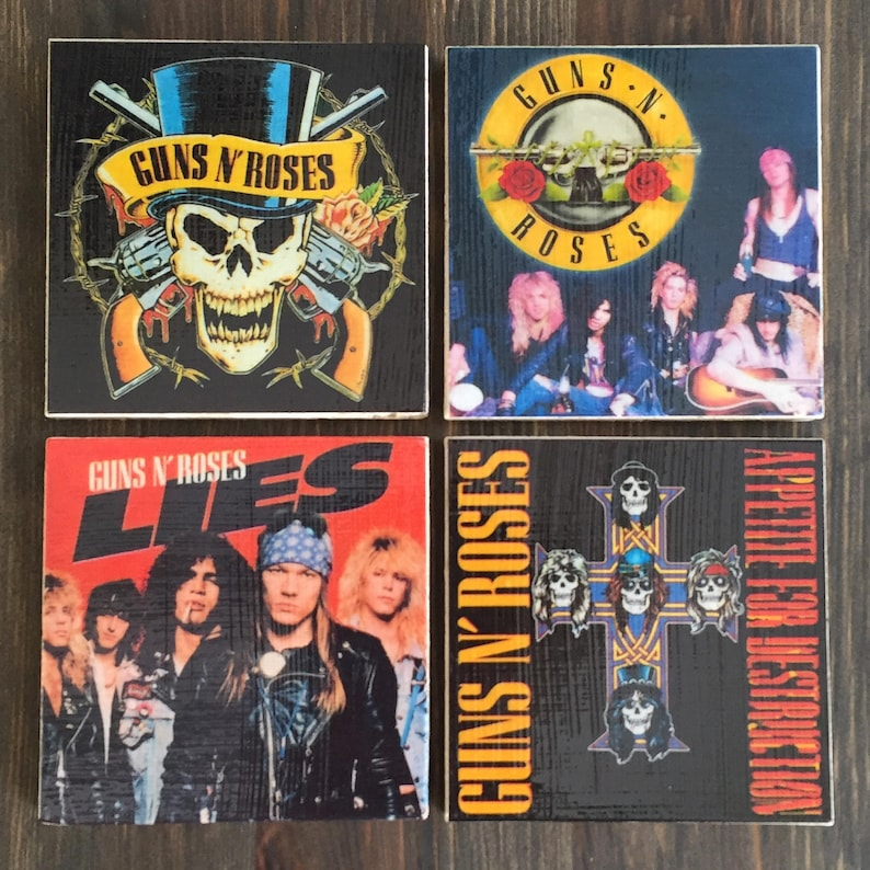 Guns N Roses Art Stone Coasters Handmade Set of 4 80s Rock image 0