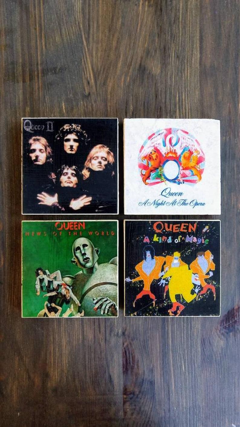 Queen Album Cover Stone Coasters, Handmade, Travertine Stone, Rock N Roll  Decor print poster design, 70s 80s 90s band, Freddie Mercury