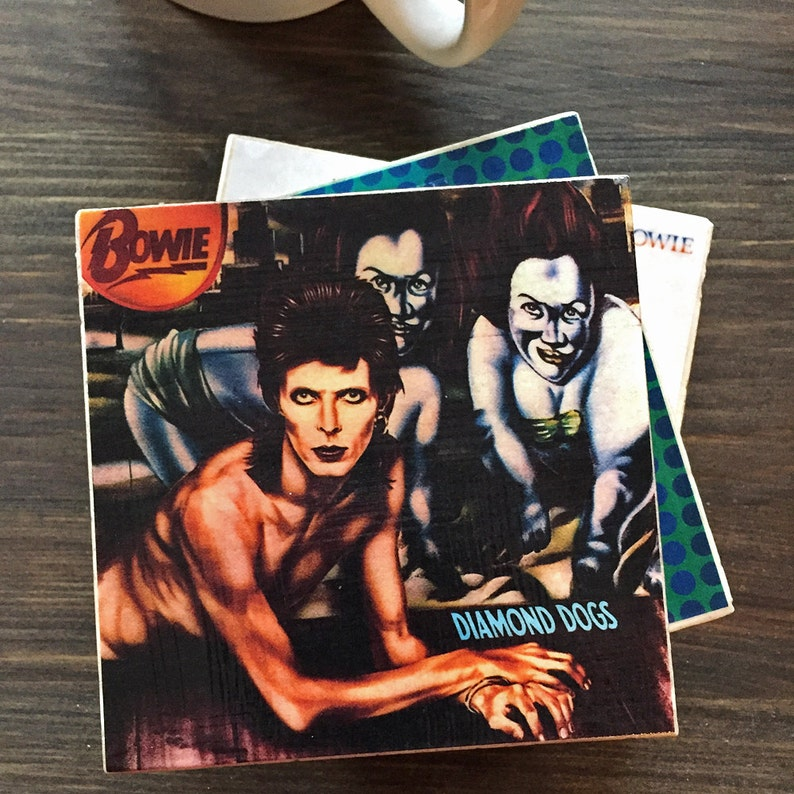 David Bowie Album Cover Stone Coasters Set of 4 Travertine image 0