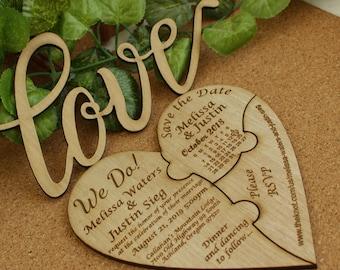 Wood Heart Invitation Puzzle Wedding Unique