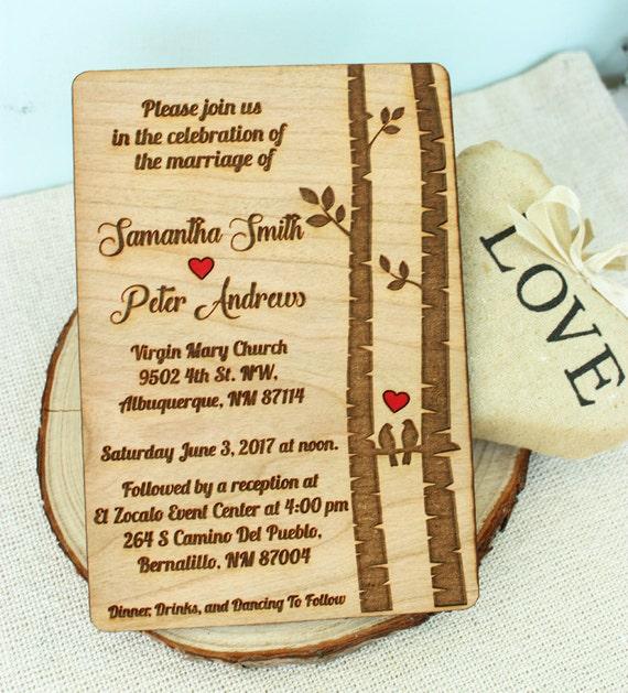 Vogel Lieben Baum Holz Hochzeitseinladung Etsy