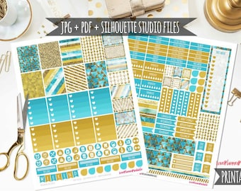 Items similar to 396 Glitter Printable Planner Stickers, realistic color glitter, 6 printable US