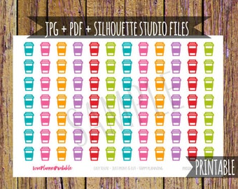Coffee Printable Planner Stickers Cut File Stickers Coffee Planner Stickers Icon Planner Stickers Digital Stickers Functional Stickers A3