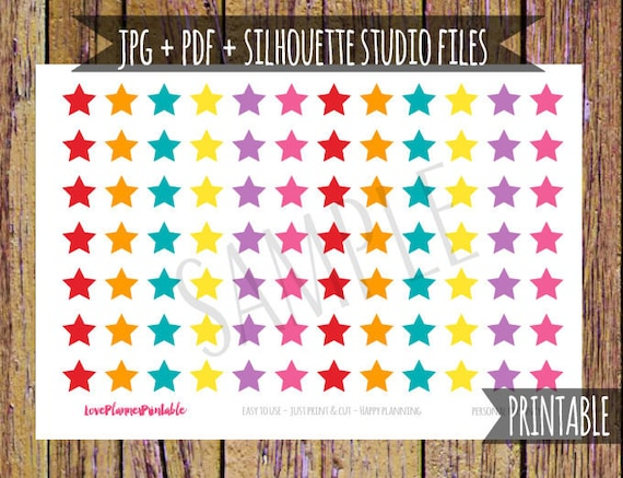 star stickers printable planner stickers cut file icon