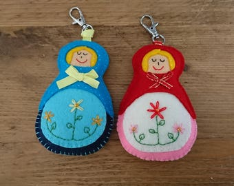 2b76c28eacb62a Hand Made felt Russian doll bag charm