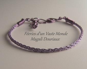 Handmade purple copper viking bracelet