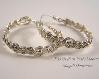 Silver braided hoop earrings