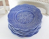 Blue Dessert Plates Bordallo Pinheiro SET of 7, Floral French Country, Farmhouse, Shabby chic decor
