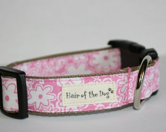Pink with White Flowers DoG Collar