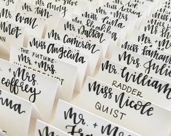 Place cards | wedding guest place cards | place cards | name tags | hand lettered place cards | calligraphy