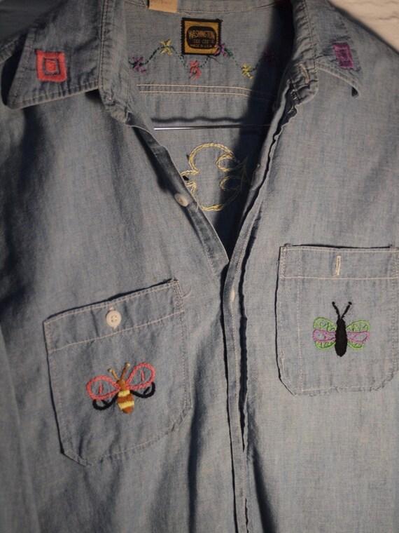 70s Embroidered Denim Shirt
