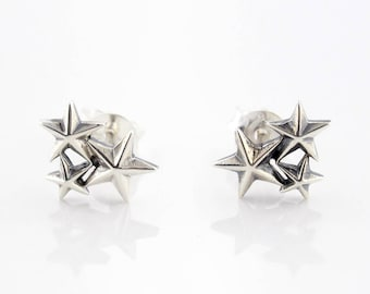 925 Sterling Silver Star Cluster Earrings Studs Stud Dainty Cute Fashion
