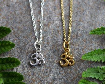 Gold Ohm Necklace, Silver Ohm Necklace, Om Pendant, Delicate Necklace, Om Charm, Yoga Pendant, Yoga Jewellery, Spiritual Jewellery